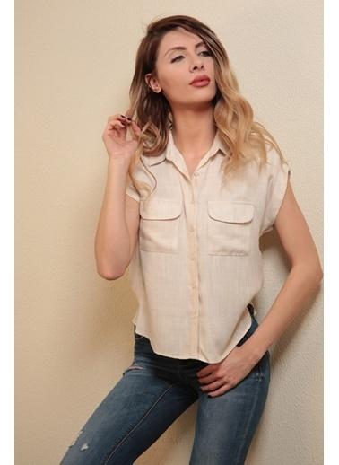 Reyon Baskılı Kadın Gömlek Beyaz Bej